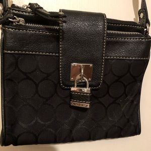 Nine West black long strap shoulder purse